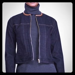 Ralph Lauren Navy Denim Jacket w/Leather Trim Sz 4